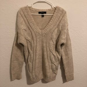 Chunky Off-White V-Neck Knit Sweater